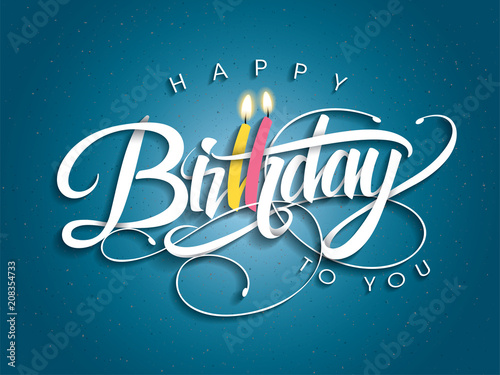 Happy Birthday greeting card with lettering design Wallpaper Mural