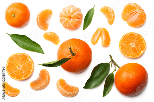 mandarin with slices and green leaf isolated on white background top view - 208354760
