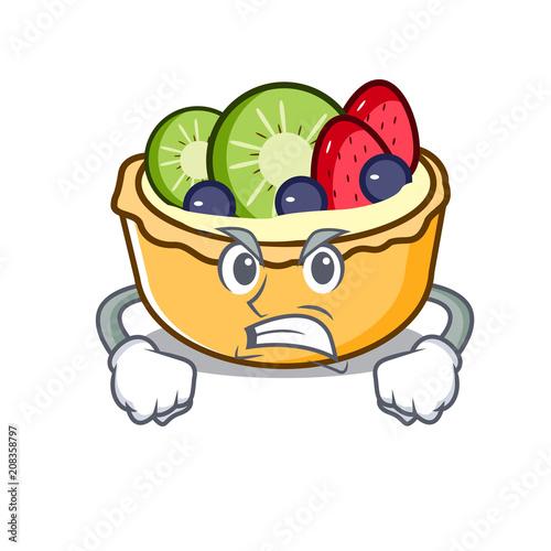 Canvas Print Angry fruit tart mascot cartoon