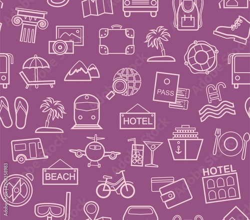 Travel Vacation Tourism Seamless Pattern Outline Purple Color Vector Diffe Types Of Holidays And Ways Travelling