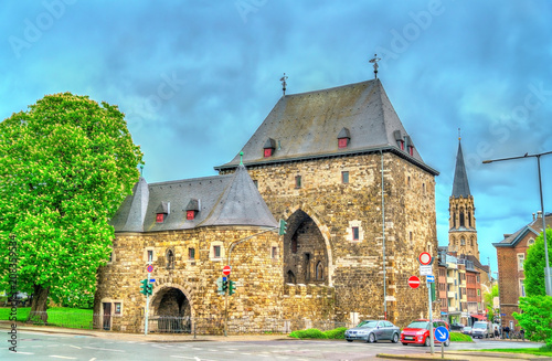 Ponttor, a medieval city gate of Aachen in Germany Canvas Print