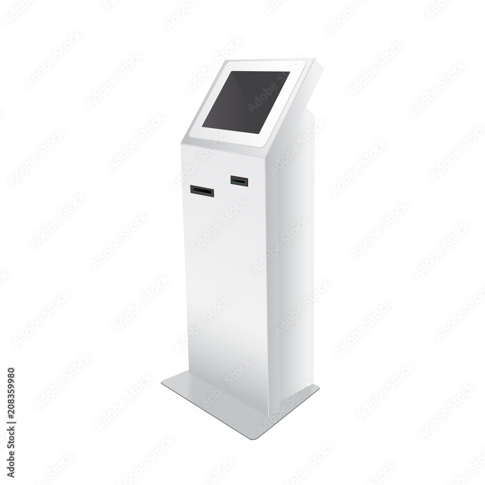 Fototapeta Outdoor White. Payment Terminal. ATM, POS, POI Advertising Stand On White Background. 3D Mock Up, Template