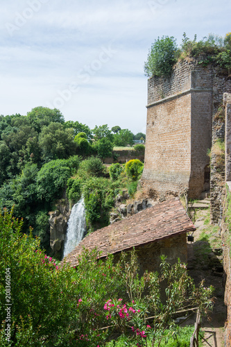 Foto op Plexiglas Europese Plekken Nepi in Lazio, Italy. The waterfalls near Borgia Castle
