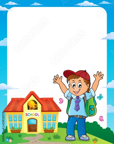 Deurstickers Voor kinderen Happy pupil boy theme frame 1