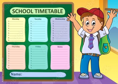 Deurstickers Voor kinderen Weekly school timetable design 6