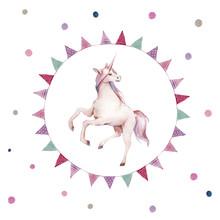 Watercolor Unicorn In Flag Gar...