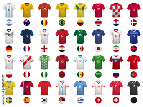 Fotomural Set of T-shirts and flags of the national teams of world championship