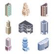 3D isometric buildings set.