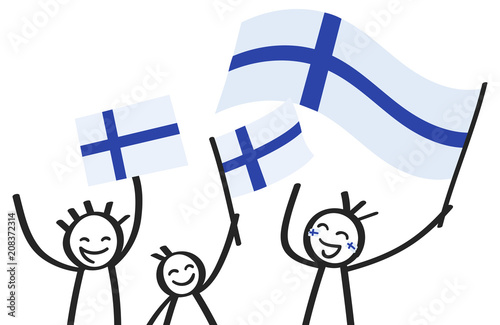 Fototapeta Cheering group of three happy stick figures with Finnish national flags, smiling