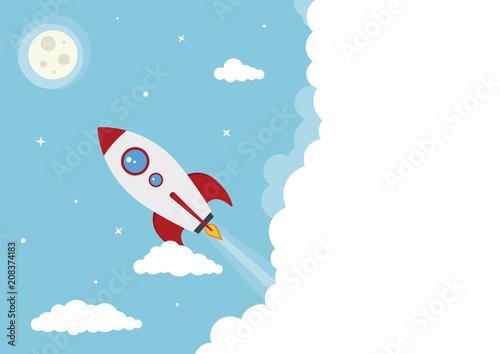 Foto op Canvas Kosmos Cartoon Vector Spacing Rocket Launch