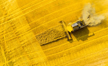 Aerial View Of Combine Harvest...