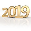 3d render (illustration) of gold metal 2019 year. Two thousand and nineteen. Numbers, dates, letters, characters. Celebration. Happy New Year.
