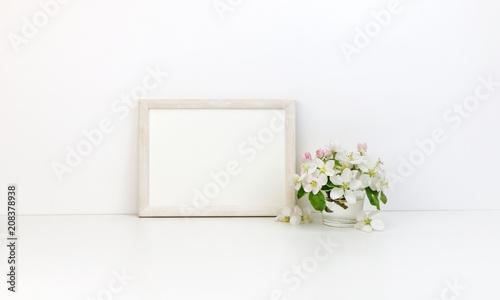 Horizontal frame floral mockup, white flowers, styled stock photo