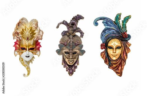 Poster Carnaval Venetian masks for carnival in Venice, Italy