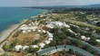 Whie buildings Blue beach line Drone 4k flight in Italy
