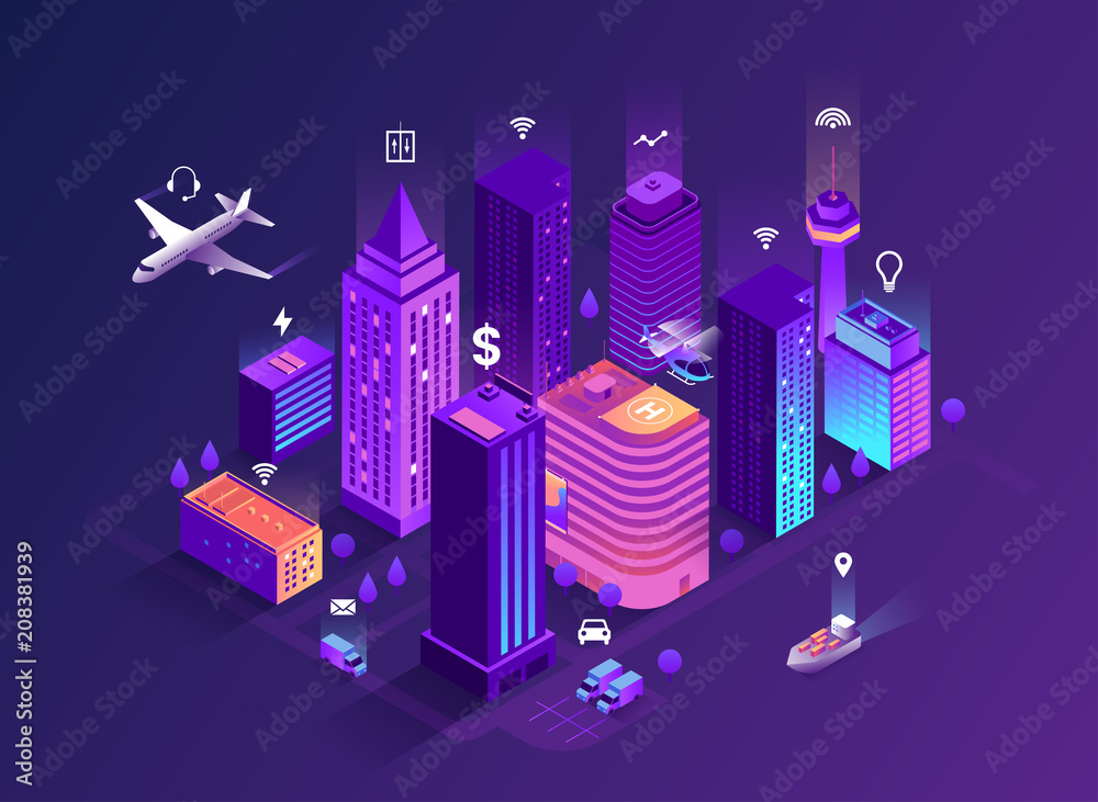Fototapeta Smart city isometric illustration. Intelligent buildings. Streets of the city connected to computer network. Internet of things concept. Business center with skyscrapers. Eps 10