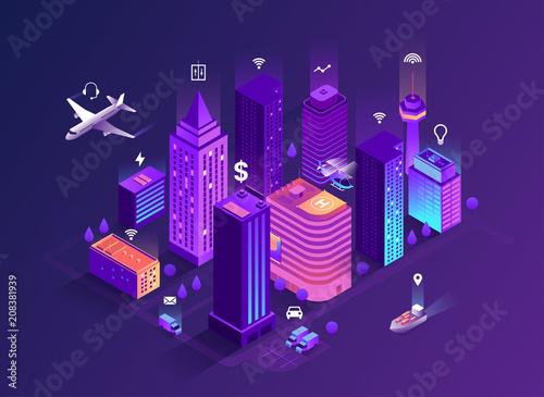Valokuvatapetti Smart city isometric illustration