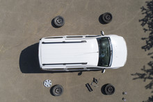 Changing Car Tires, Top View