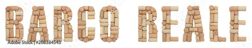 Photo Word Barco Reale made of wine corks Isolated on white background