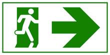 Emergency Exit Sign. Man Runni...