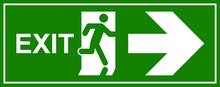 Emergency Exit Sign. Man Runni...