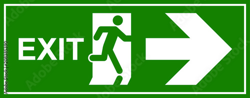 Emergency exit sign. Man running out fire exit Wallpaper Mural