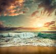 Beautiful Tropical Sea view under sunset sky at Sri Lankain beach