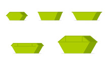 Green Waste Skip Bin Icon Set. Clipart Image Isolated On White Background