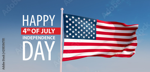 Fotografia  3d render, the 4th of july, independence day USA, the stars and stripes