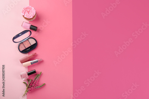 Flat lay composition with cosmetic products on color background