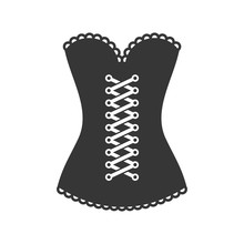 Women Black Corset Icon On White Background. Vector