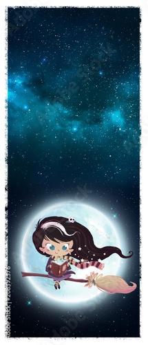 Obraz na plátne niña bruja volando en la luna