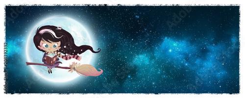 Fotografie, Tablou niña bruja en la luna