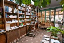 Bookstore With Antique Bookshelves, Decoration, Couch And Table For Coffee And Lunch Of Readers