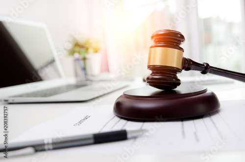 Wooden gavel at lawyer or attorney office Canvas Print