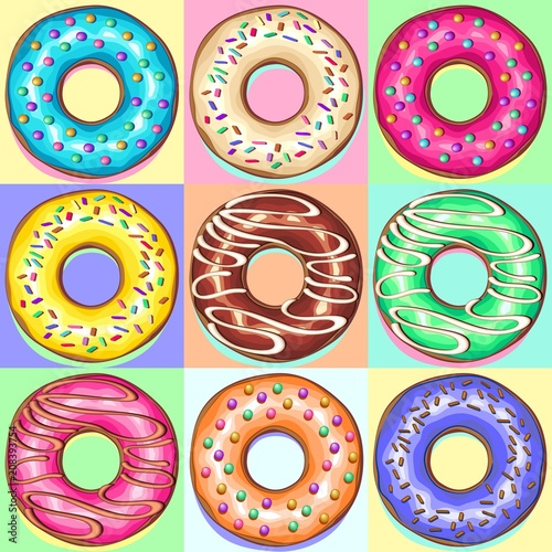 In de dag Draw Donuts Punchy Pastel Set of 9 Flavours