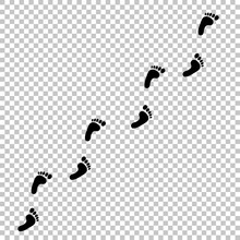 Black Human Footprint Path On Transparent Background.