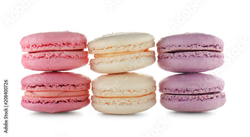 Poster Macarons Tasty colorful macarons on white background