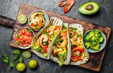 Shrimps Tacos With Salsa, Vege...