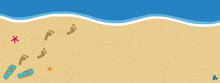 Summer Poster With Copy Space Flip Flops And Foot Prints On Sandy Beach Background