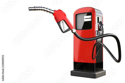 Canvas-taulu 3d rendering of a red gas pistol with gasoline dispenser pumps isolated on white background with clipping paths