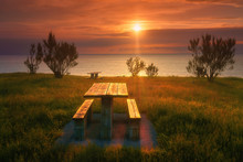 Picnic Table In Barrika Coast ...