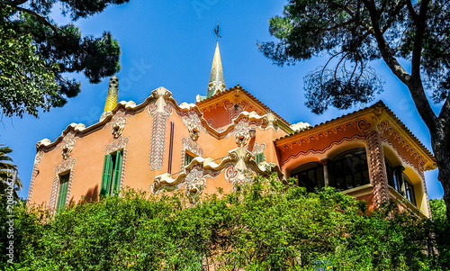 In de dag Barcelona Architecture of the Barcelona, Spain. The Gaudi House Museum.