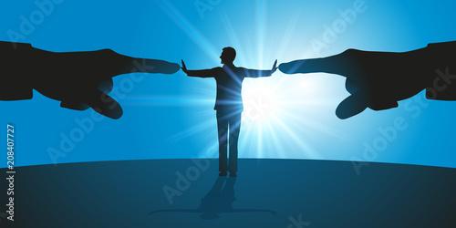 Fototapeta harcèlement - stress - conflit - leadership - montrer du doigt - refuser - rejet