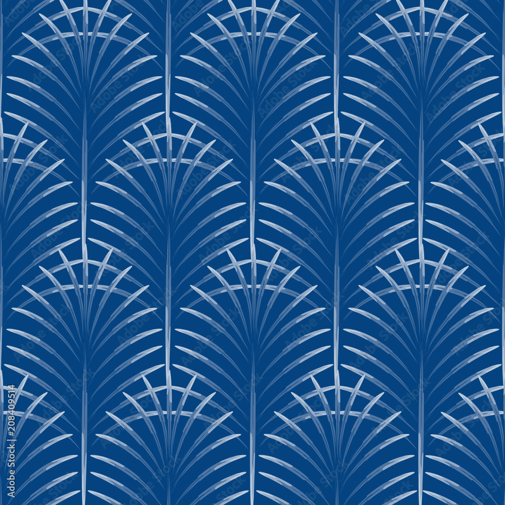 Art deco palm leaves geometry arch blue seamless pattern. Abstract leaf shapes vector background.