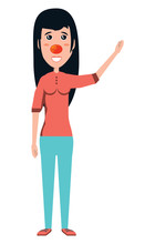 Cartoon Happy Woman With Red N...