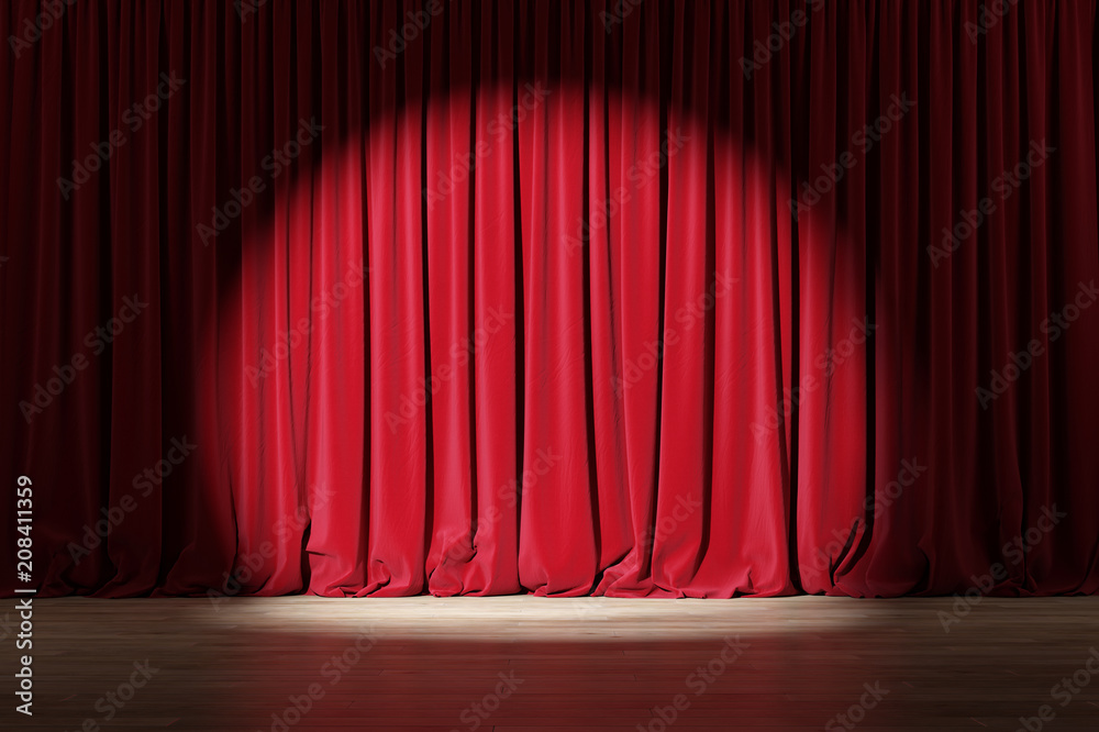 Fototapeta Empty stage with red velvet curtains with spotlight