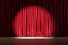 Empty Stage With Red Velvet Cu...