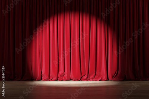Fototapeta Empty stage with red velvet curtains with spotlight obraz
