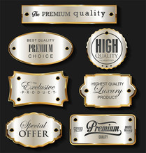 Gold And Silver Sale Labels Retro Vintage Design Collection